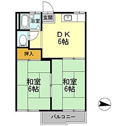 愛知県岡崎市伊賀新町の賃貸アパートの間取り