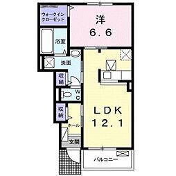 名鉄豊川線 諏訪町駅 徒歩18分の賃貸アパート 1階1LDKの間取り