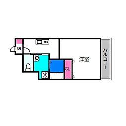 ラ・ヴィラ阿倍野 2階1Kの間取り