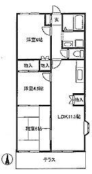 埼玉県草加市谷塚町の賃貸アパートの間取り