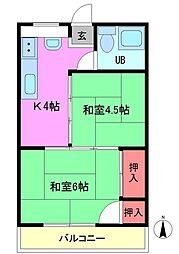 富士美ハイツ[4階]の間取り