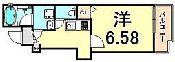 阪急神戸本線 塚口駅 徒歩7分の賃貸アパート 2階1Kの間取り