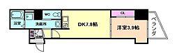 Osaka Metro谷町線 南森町駅 徒歩7分の賃貸マンション 15階1DKの間取り