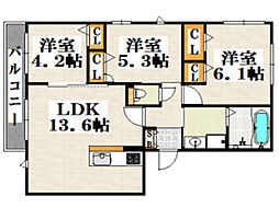 西鉄天神大牟田線 西鉄平尾駅 徒歩12分の賃貸アパート 2階3LDKの間取り