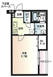 JR阪和線 堺市駅 徒歩5分の賃貸アパート 2階1Kの間取り