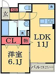 千葉県市原市八幡石塚2丁目の賃貸アパートの間取り