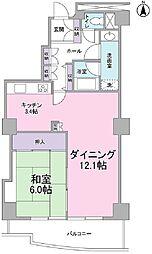 文京グリーンコート ビュータワー本駒込 14階1LDKの間取り