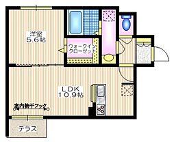 東急東横線 学芸大学駅 徒歩11分の賃貸マンション 1階1LDKの間取り