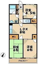 東京都多摩市永山2丁目の賃貸マンションの間取り