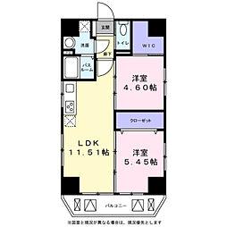 ププレ三ノ輪壱番館 8階2LDKの間取り