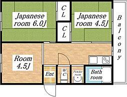 大阪府大阪市平野区平野北2丁目の賃貸マンションの間取り