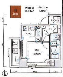 GENOVIA木場skygarden 4階ワンルームの間取り