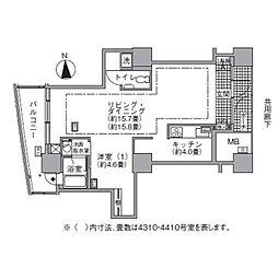 JR山手線 浜松町駅 徒歩3分の賃貸マンション 43階1LDKの間取り
