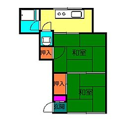 立花荘[2号室]の間取り