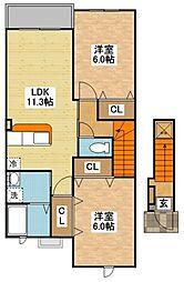 ガーデンハウス夢ヶ丘A[2階]の間取り