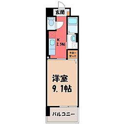 カシリ・エスポワール 3階1Kの間取り