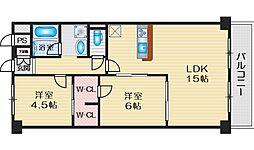 北大阪ハイツ 1階2LDKの間取り