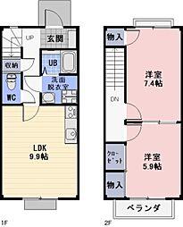 愛知県豊田市竹元町の賃貸アパートの間取り