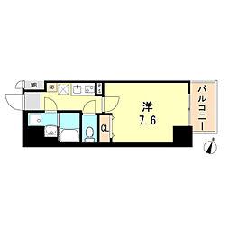 ワコーレヴィータ神戸元町 14階1Kの間取り