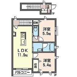 プランドール 2階2LDKの間取り
