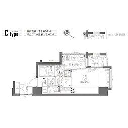 ZOOM月島(ズームツキシマ) 2階1Kの間取り