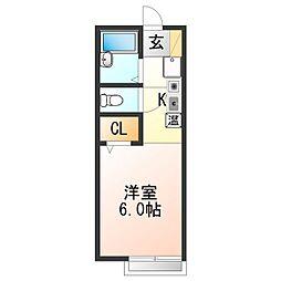 JR阪和線 東佐野駅 徒歩30分の賃貸アパート 2階1Kの間取り