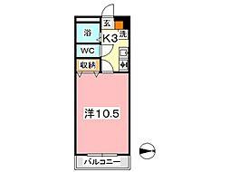 ぐろーぶ倉敷[301号室]の間取り