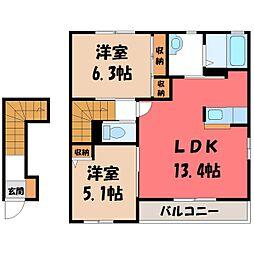 栃木県下都賀郡壬生町おもちゃのまち2丁目の賃貸アパートの間取り