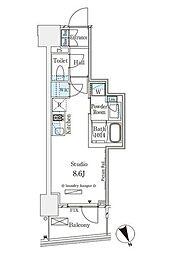 東京メトロ銀座線 表参道駅 徒歩12分の賃貸マンション 11階ワンルームの間取り