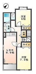 秋桜 壱番館[2階]の間取り