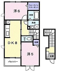 新潟県新潟市西蒲区潟頭の賃貸アパートの間取り