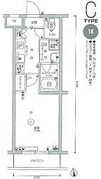 スカイコート多摩川壱番館 4階1Kの間取り
