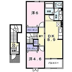 新潟県見附市今町3丁目の賃貸アパートの間取り