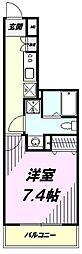 多摩都市モノレール 上北台駅 徒歩1分の賃貸マンション 7階1Kの間取り