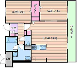 北大阪急行電鉄 桃山台駅 徒歩10分の賃貸マンション 3階2LDKの間取り