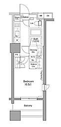 ザ・パークハビオ木場 13階1Kの間取り