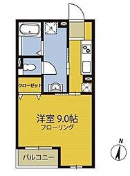 東京都世田谷区上馬5丁目の賃貸アパートの間取り