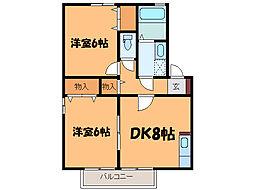 フラワーレジデンス鈴木 六番館[2階]の間取り
