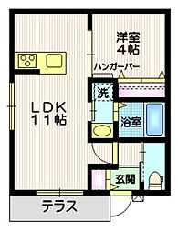 東急東横線 祐天寺駅 徒歩7分の賃貸マンション 1階1LDKの間取り
