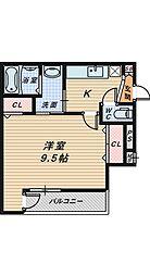 サンシーブル三国ヶ丘[1階]の間取り