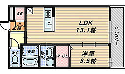 スカイコート津久野[2階]の間取り