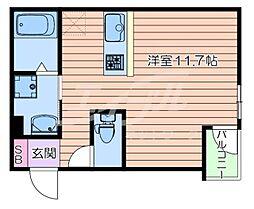 マークス尼崎 1階ワンルームの間取り
