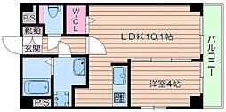 北大阪急行電鉄 千里中央駅 徒歩19分の賃貸マンション 2階1LDKの間取り