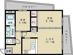 大阪府大阪市東淀川区上新庄3丁目の賃貸マンションの間取り
