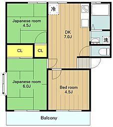 神奈川県横浜市瀬谷区南瀬谷1丁目の賃貸アパートの間取り