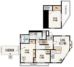 JR山手線 駒込駅 徒歩5分の賃貸アパート 2階3LDKの間取り