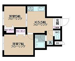 シャルレ早稲田[2階]の間取り