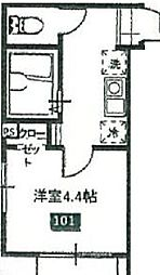 京王高尾線 京王片倉駅 徒歩13分の賃貸アパート 1階1Kの間取り
