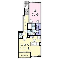 草部アパート 1階1LDKの間取り