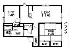 プロスペリテA・B・C棟[1階]の間取り